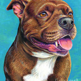Tallulah the Staffordshire Bull Terrier Dog by Rebecca Wang