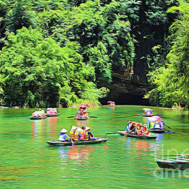 Tam Coc Tourist Boats River Color Artistic  by Chuck Kuhn