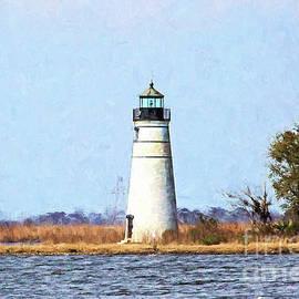 Tchefuncte River Lighthouse - digital painting by Scott Pellegrin