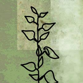 Textured Green Botanical Line Art by Nancy Merkle