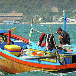 Thai fishing boat at sea by Anita Gendt van