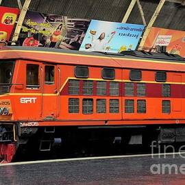 Thai railways diesel electric locomotive parked at Bangkok train station Thailand by Imran Ahmed