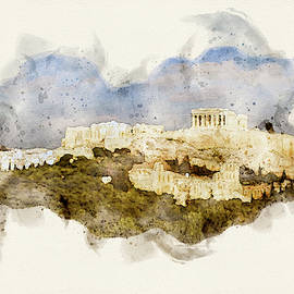 The Athens Parthenon Digital Watercolor by Cassi Moghan