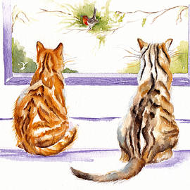 Two Cats - The Bird Watchers by Debra Hall