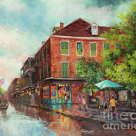 The Blue Umbrella - New Orleans Artist, Royal Street by Dianne Parks