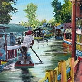 The Boats of Xochimilco, Mexico by Maryanne Hewitt