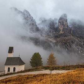 The church of cappella di san Maurizio at the Passo gardena pass, Italy by Michalakis Ppalis