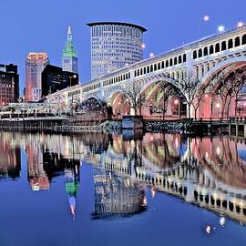 The CLE on the Cuyahoga  by Frozen in Time Fine Art Photography