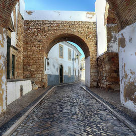 The Cobbled Street In Faro Portugal by Teresa Zieba