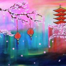 The Dreamy Cherry Blossom acrylic painting  by Manjiri Kanvinde