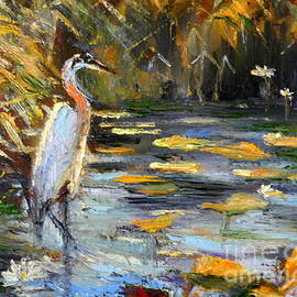 The egret and the nenuphars by Louise Lavallee