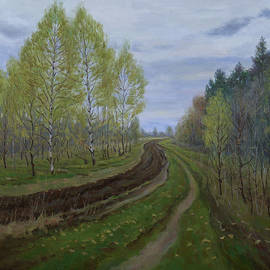 The First Green Of Spring. Original Oil Painting by Nikolay Dmitriev
