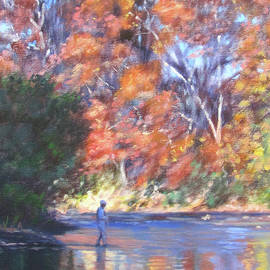 The Fisherman_Fishing the Roanoke River in Autumn by Bonnie Mason