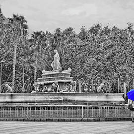 The Fountain and Blue Umbrella - Selective Color - Seville by Allen Beatty