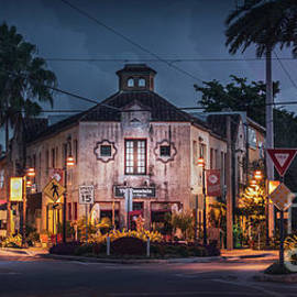 The Fountain Kitchen and Wine Bar in Sarasota at Blue Hour 2 by Liesl Walsh