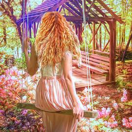 The Garden Swing Painting by Debra and Dave Vanderlaan