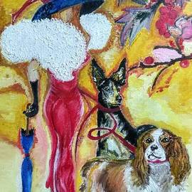 The Girl with Dogs.The Girl in the Artificial Boa. by Maria Sibireva