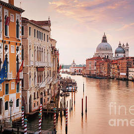 The Grand Canal at sunrise, Venice, Italy by Justin Foulkes