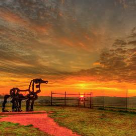 The Iron Horse Farm Sunrise 7 UGA Agricultural Farming Landscape Sculpture Art by Reid Callaway