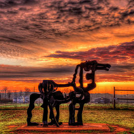 The Iron Horse Sunup 7 UGA Iron Horse farm Agricultural Landscape Sculpture Art by Reid Callaway