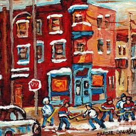 The Jewish Street Famous Corner Delis Canadian Art Winter Hockey Scenes Wilensky Painting C Spandau  by Carole Spandau