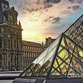 The Louvre I.M Pei Architect Towers France  by Chuck Kuhn