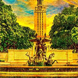 The Main Building of the University of Texas at Austin seen from the Littlefield Fountain at sunset by Watch And Relax