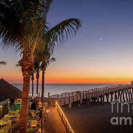 The Moon and Venus at the Pier in Venice, Florida by Liesl Walsh