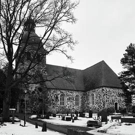 The Old Church of  Kangasala  on a gray day bw by Jouko Lehto