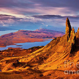Old Man of Storr at sunrise, Isle of Skye by Neale And Judith Clark