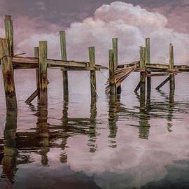 The Old Wooden Docks in the Fog at Sunset by Debra and Dave Vanderlaan