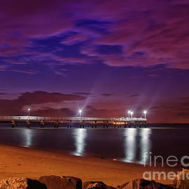 The Pier at Woodland Beach Coastal Landscape Night Photo by Melissa Fague