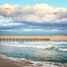 The Pier in Sunrise Colors II  by Debra and Dave Vanderlaan