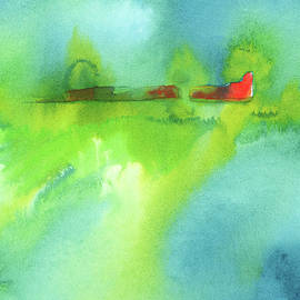 The red barn abstract landscape watercolor painting by Karen Kaspar