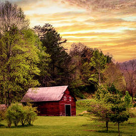 The Red Barn at Sunset by Debra and Dave Vanderlaan