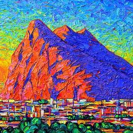 ROCK OF GIBRALTAR SUNRISE commissioned textured impasto palette knife painting Ana Maria Edulescu by Ana Maria Edulescu