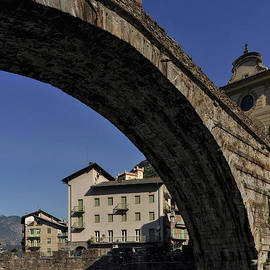 The Roman or Devil's Bridge at Pont Saint Martin, Aosta Valley, Italy by Terence Kerr