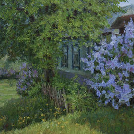 The Sunny Spring Day. Blossoming Lilac. Original Oil Painting by Nikolay Dmitriev