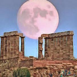 The temple of Poseidon under August full moon by George Atsametakis