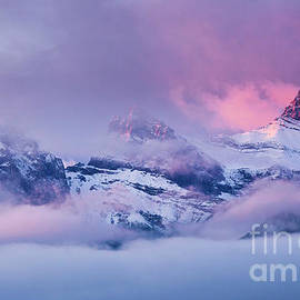 The Three Sisters peaks at Sunrise, Canmore, Alberta, Canada by Neale And Judith Clark