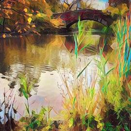 The Turning of Autumn - Gapstow Bridge Central Park by Miriam Danar