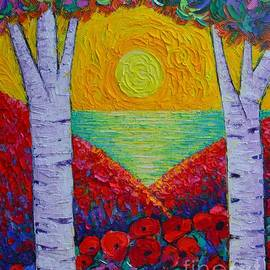 THE TWO OF US abstract landscape poppies and trees by the sea at sunrise by Ana Maria Edulescu by Ana Maria Edulescu