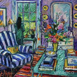 THE WAITING - textured impressionism palette knife oil painting Mona Edulesco  by Mona Edulesco