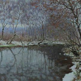 The Winter Realism Plein-Air Painting Glacial Water by Nikolay Dmitriev