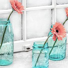 Three Blue Jars and Gerbera by Michele Hancock