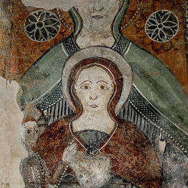 Three generations of the Holy Family - Christ Child, Virgin Mary and St Anne - 1300s fresco, Italy by Terence Kerr