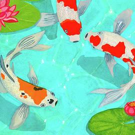 Three Koi Fish In Sunlit Lotus Pond by Deborah League