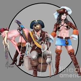 Three pirates drawing by Murphy Art Elliott