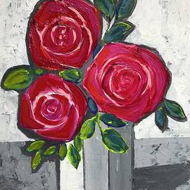 Three Roses In A White Vase  by Jean Fassina