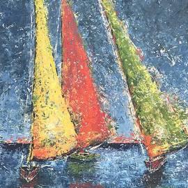 Three Sailboats by Patricia Caldwell